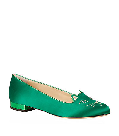 Satin Kitty Flat - predominant colour: mint green; occasions: casual, creative work; material: satin; heel height: flat; embellishment: embroidered; toe: round toe; style: loafers; finish: plain; pattern: plain; season: a/w 2014; wardrobe: highlight