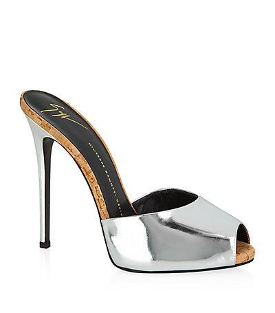 Mayotte Patent Mule Silver - predominant colour: silver; occasions: evening, occasion; material: leather; heel: stiletto; toe: open toe/peeptoe; style: mules; finish: metallic; pattern: plain; heel height: very high; season: a/w 2014; wardrobe: event