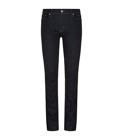 Elle Mid Rise Baby Boot Jeans - length: standard; pattern: plain; pocket detail: traditional 5 pocket; style: slim leg; waist: mid/regular rise; predominant colour: navy; occasions: casual; fibres: cotton - stretch; jeans detail: dark wash; texture group: denim; pattern type: fabric; season: a/w 2014; wardrobe: basic