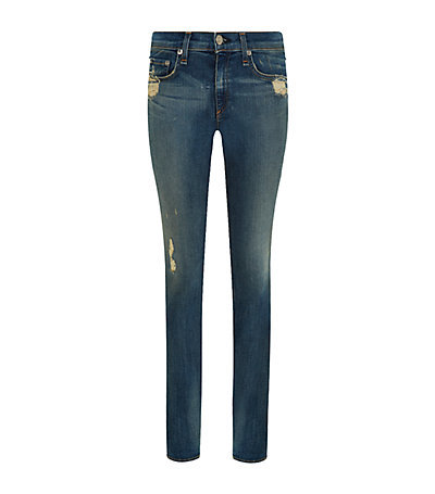 Destroyed Skinny Jeans - style: skinny leg; length: standard; pattern: plain; waist: low rise; pocket detail: traditional 5 pocket; predominant colour: denim; occasions: casual; fibres: cotton - stretch; jeans detail: whiskering, shading down centre of thigh; texture group: denim; pattern type: fabric; season: a/w 2014; wardrobe: basic