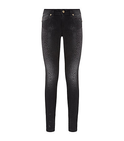 Leopard Print Skinny Jeans - style: skinny leg; length: standard; waist: high rise; pocket detail: traditional 5 pocket; predominant colour: black; occasions: casual, evening; fibres: cotton - stretch; jeans detail: dark wash; texture group: denim; pattern type: fabric; pattern: animal print; season: a/w 2014; pattern size: big & busy (bottom)