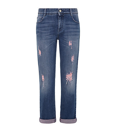 Distressed Boyfriend Jeans - style: boyfriend; length: standard; pattern: plain; waist: high rise; pocket detail: traditional 5 pocket; secondary colour: pink; predominant colour: denim; occasions: casual; fibres: cotton - stretch; jeans detail: whiskering; jeans & bottoms detail: turn ups; texture group: denim; pattern type: fabric; season: a/w 2014; wardrobe: basic