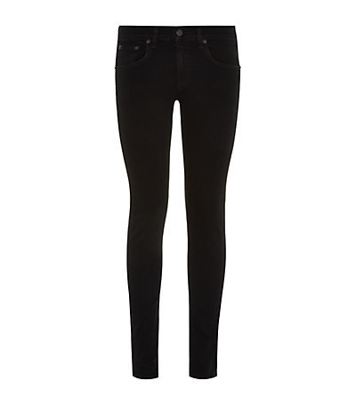 Skinny Jeans - style: skinny leg; pattern: plain; pocket detail: traditional 5 pocket; waist: mid/regular rise; predominant colour: black; occasions: casual, evening; length: ankle length; fibres: cotton - stretch; texture group: denim; pattern type: fabric; season: a/w 2014; wardrobe: basic