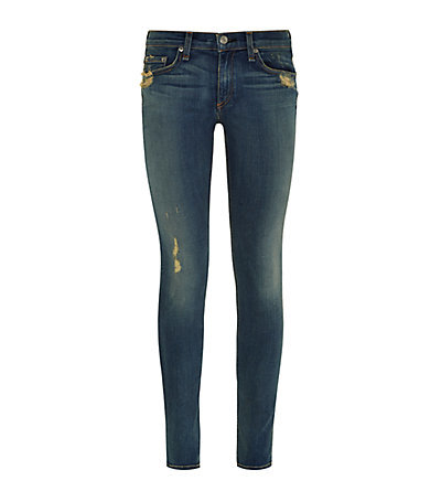 Distressed Skinny Jeans - style: skinny leg; length: standard; pattern: plain; waist: low rise; pocket detail: traditional 5 pocket; predominant colour: denim; occasions: casual; fibres: cotton - stretch; jeans detail: whiskering, shading down centre of thigh, washed/faded; texture group: denim; pattern type: fabric; season: a/w 2014; wardrobe: basic
