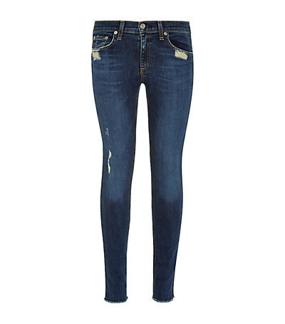 Distressed Skinny Jeans - style: skinny leg; length: standard; pattern: plain; waist: low rise; pocket detail: traditional 5 pocket; predominant colour: royal blue; occasions: casual; fibres: cotton - stretch; jeans detail: whiskering, shading down centre of thigh, dark wash; texture group: denim; pattern type: fabric; season: a/w 2014; wardrobe: basic