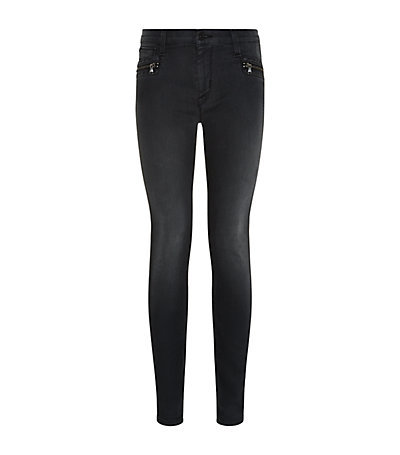 Spark Zip Pocket Skinny Jeans - style: skinny leg; length: standard; pattern: plain; pocket detail: traditional 5 pocket; waist: mid/regular rise; predominant colour: black; occasions: casual; fibres: cotton - stretch; texture group: denim; pattern type: fabric; season: a/w 2014; wardrobe: basic