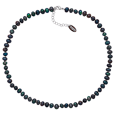 Freshwater Pearl Necklace - predominant colour: black; occasions: evening, occasion; length: short; size: standard; material: plastic/rubber; finish: plain; embellishment: pearls; season: a/w 2014; style: bead; wardrobe: event