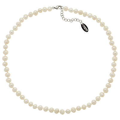 Freshwater Pearl Necklace - predominant colour: ivory/cream; occasions: evening, work, occasion; length: short; size: standard; material: chain/metal; finish: plain; embellishment: pearls; season: a/w 2014; style: bead; wardrobe: highlight