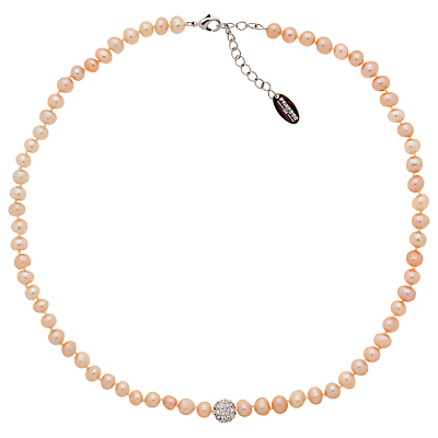 Freshwater Pearl And Crystal Necklace - predominant colour: blush; occasions: evening, occasion; length: short; size: standard; material: plastic/rubber; finish: metallic; embellishment: pearls; season: a/w 2014; style: bead