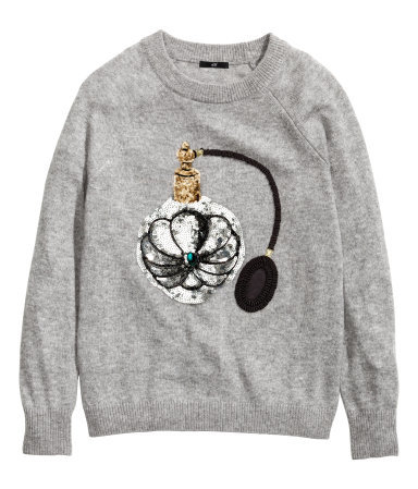 Fine Knit Jumper - style: standard; secondary colour: silver; predominant colour: mid grey; occasions: casual, creative work; length: standard; fibres: acrylic - 100%; fit: standard fit; neckline: crew; sleeve length: long sleeve; sleeve style: standard; texture group: knits/crochet; pattern type: knitted - fine stitch; pattern size: standard; embellishment: sequins; pattern: graphic/slogan; season: a/w 2014; wardrobe: highlight; embellishment location: bust