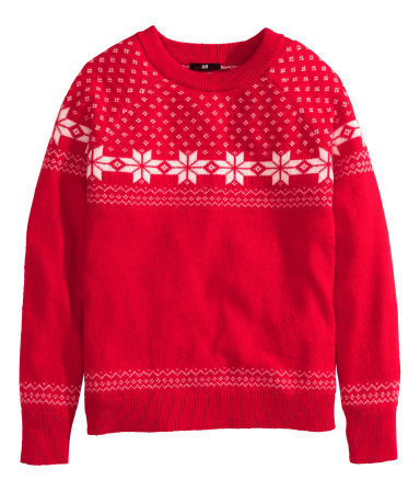 Fine Knit Jumper - style: standard; secondary colour: white; predominant colour: true red; occasions: casual, creative work; length: standard; fibres: acrylic - 100%; fit: standard fit; neckline: crew; pattern: fairisle; sleeve length: long sleeve; sleeve style: standard; texture group: knits/crochet; pattern type: knitted - other; pattern size: standard; trends: zesty shades; season: a/w 2014; wardrobe: highlight