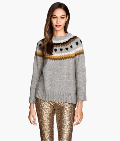 Jacquard Knit Jumper - style: standard; secondary colour: tan; predominant colour: mid grey; occasions: casual; length: standard; fibres: wool - mix; fit: standard fit; neckline: crew; sleeve length: long sleeve; sleeve style: standard; texture group: knits/crochet; pattern type: knitted - other; pattern size: standard; pattern: patterned/print; trends: statement knits; season: a/w 2014; wardrobe: highlight
