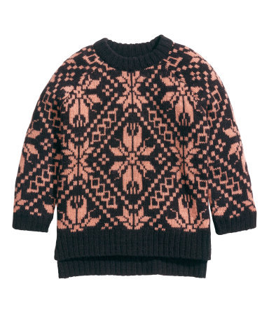 Jacquard Knit Jumper - style: standard; secondary colour: pink; predominant colour: black; occasions: casual, creative work; length: standard; fibres: acrylic - mix; fit: standard fit; neckline: crew; sleeve length: long sleeve; sleeve style: standard; texture group: knits/crochet; pattern size: standard; pattern: patterned/print; season: a/w 2014; wardrobe: highlight