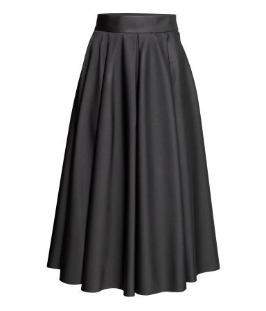 Wide Skirt - length: below the knee; pattern: plain; style: full/prom skirt; fit: loose/voluminous; waist detail: wide waistband/cummerbund; waist: high rise; predominant colour: black; occasions: evening, occasion; fibres: polyester/polyamide - 100%; hip detail: soft pleats at hip/draping at hip/flared at hip; pattern type: fabric; texture group: woven light midweight; season: a/w 2014; wardrobe: event