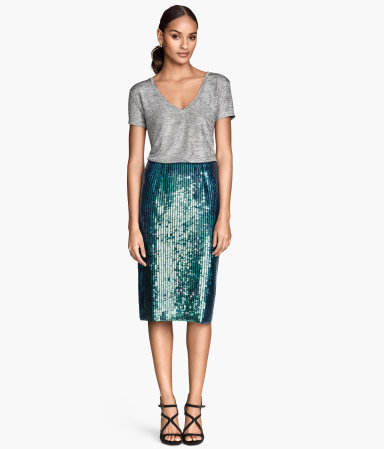 Sequined Skirt - length: below the knee; pattern: plain; style: pencil; fit: tailored/fitted; waist: high rise; predominant colour: dark green; occasions: evening, occasion; fibres: polyester/polyamide - 100%; pattern type: fabric; texture group: other - light to midweight; embellishment: sequins; season: a/w 2014; wardrobe: event; embellishment location: all over