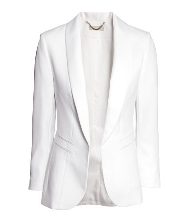 Dinner Jacket - pattern: plain; style: single breasted blazer; collar: shawl/waterfall; predominant colour: white; occasions: evening, occasion, creative work; length: standard; fit: tailored/fitted; fibres: polyester/polyamide - 100%; sleeve length: long sleeve; sleeve style: standard; collar break: low/open; pattern type: fabric; texture group: woven light midweight; season: a/w 2014; wardrobe: investment