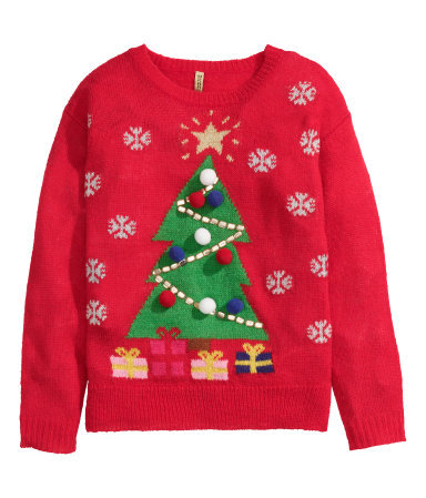 Christmas Jumper - style: standard; predominant colour: true red; secondary colour: emerald green; occasions: casual, creative work; length: standard; fibres: acrylic - mix; fit: standard fit; neckline: crew; sleeve length: long sleeve; sleeve style: standard; texture group: knits/crochet; pattern: patterned/print; trends: christmas jumpers; season: a/w 2014; wardrobe: highlight