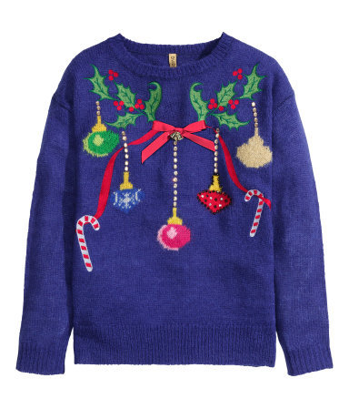 Christmas Jumper - neckline: round neck; style: standard; predominant colour: navy; occasions: casual, creative work; length: standard; fibres: acrylic - mix; fit: standard fit; sleeve length: long sleeve; sleeve style: standard; texture group: knits/crochet; pattern type: knitted - other; pattern size: standard; pattern: patterned/print; secondary colour: raspberry; trends: christmas jumpers; season: a/w 2014; wardrobe: highlight