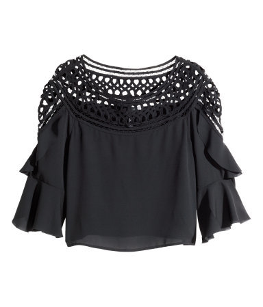 Wide Lace Blouse - neckline: round neck; sleeve style: angel/waterfall; pattern: plain; length: cropped; predominant colour: black; occasions: casual, evening; style: top; fibres: polyester/polyamide - 100%; fit: body skimming; sleeve length: 3/4 length; texture group: sheer fabrics/chiffon/organza etc.; pattern type: fabric; embellishment: lace; season: a/w 2014; wardrobe: highlight