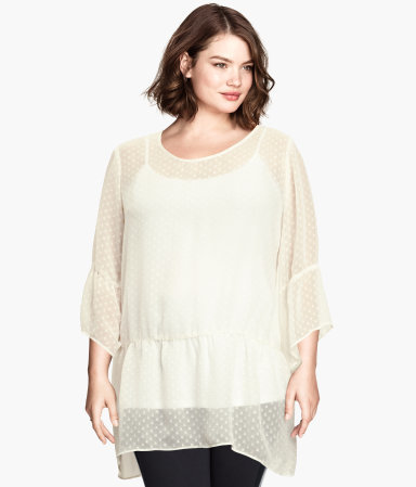 + Chiffon Tunic - neckline: round neck; pattern: plain; length: below the bottom; style: tunic; predominant colour: ivory/cream; occasions: casual, evening, creative work; fibres: polyester/polyamide - mix; fit: loose; sleeve length: 3/4 length; sleeve style: standard; texture group: sheer fabrics/chiffon/organza etc.; season: a/w 2014; wardrobe: basic