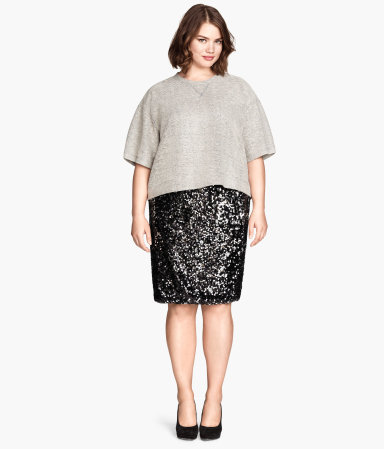 + Sequined Skirt - pattern: plain; style: pencil; waist: mid/regular rise; predominant colour: black; occasions: evening, occasion; length: on the knee; fit: straight cut; pattern type: fabric; texture group: jersey - stretchy/drapey; embellishment: sequins; season: a/w 2014