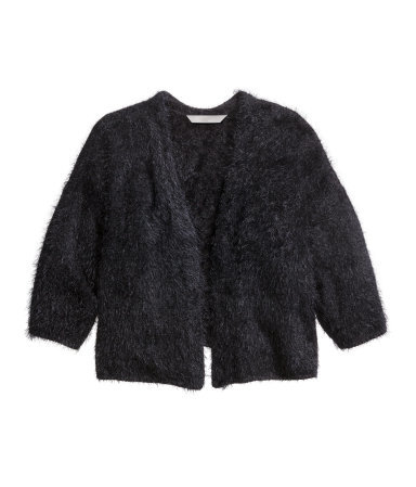+ Knitted Cardigan - pattern: plain; style: bolero/shrug; neckline: collarless open; predominant colour: black; occasions: casual, evening, creative work; length: standard; fibres: polyester/polyamide - 100%; fit: standard fit; sleeve length: 3/4 length; sleeve style: standard; texture group: knits/crochet; pattern type: knitted - other; season: a/w 2014