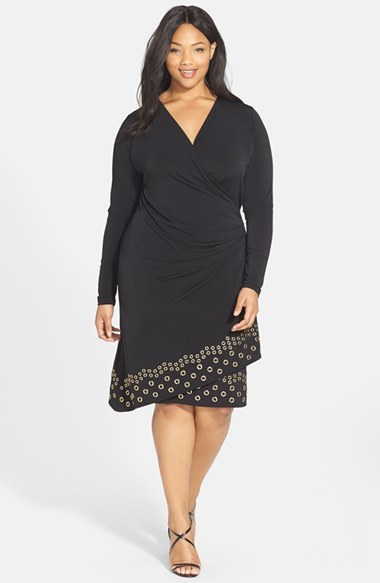 Grommet Trim Faux Wrap Dress (Plus Size) - style: faux wrap/wrap; neckline: low v-neck; pattern: plain; predominant colour: black; occasions: evening; length: on the knee; fit: body skimming; fibres: polyester/polyamide - stretch; sleeve length: long sleeve; sleeve style: standard; texture group: jersey - clingy; pattern type: fabric; embellishment: studs; season: a/w 2014; wardrobe: event