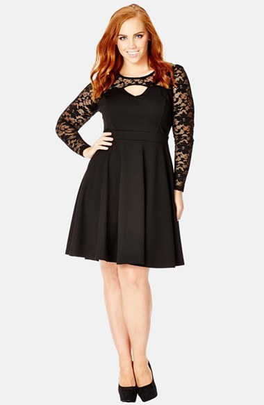 'lace Bardot' Keyhole Detail Fit & Flare Dress (Plus Size) - neckline: round neck; pattern: plain; predominant colour: black; occasions: evening, occasion; length: just above the knee; fit: fitted at waist & bust; style: fit & flare; fibres: polyester/polyamide - stretch; hip detail: soft pleats at hip/draping at hip/flared at hip; waist detail: narrow waistband; sleeve length: long sleeve; sleeve style: standard; texture group: crepes; pattern type: fabric; embellishment: lace; season: a/w 2014; shoulder detail: sheer at shoulder