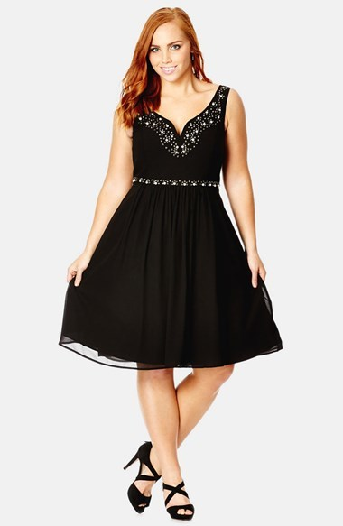 'champagne Delight' Embellished Chiffon Fit & Flare Dress (Plus Size) - neckline: low v-neck; sleeve style: standard vest straps/shoulder straps; pattern: plain; predominant colour: black; occasions: evening, occasion; length: just above the knee; fit: fitted at waist & bust; style: fit & flare; fibres: polyester/polyamide - 100%; sleeve length: sleeveless; texture group: sheer fabrics/chiffon/organza etc.; pattern type: fabric; embellishment: crystals/glass; season: a/w 2014; wardrobe: event; embellishment location: bust, waist