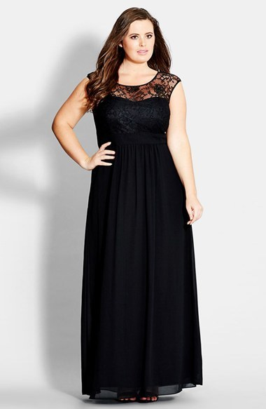 'lace Goddess' Gown (Plus Size) - style: ballgown; neckline: round neck; sleeve style: capped; pattern: plain; predominant colour: black; secondary colour: black; occasions: evening, occasion; length: floor length; fit: fitted at waist & bust; fibres: polyester/polyamide - 100%; back detail: keyhole/peephole detail at back; sleeve length: sleeveless; texture group: sheer fabrics/chiffon/organza etc.; pattern type: fabric; pattern size: standard; embellishment: lace; season: a/w 2014; shoulder detail: sheer at shoulder