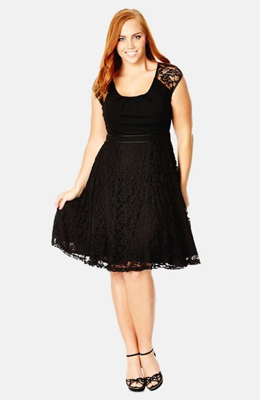 Lace Swing Dress (Plus Size) - sleeve style: capped; predominant colour: black; secondary colour: black; occasions: evening, occasion; length: on the knee; fit: fitted at waist & bust; style: fit & flare; neckline: scoop; fibres: polyester/polyamide - mix; sleeve length: short sleeve; texture group: lace; pattern type: fabric; pattern size: standard; pattern: patterned/print; season: a/w 2014; wardrobe: event; embellishment: contrast fabric; embellishment location: top