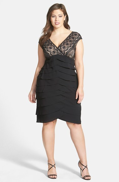 Lace Bodice Tiered Sheath Dress (Plus Size) - neckline: low v-neck; sleeve style: capped; fit: tailored/fitted; pattern: plain; style: tulip; back detail: back revealing; predominant colour: black; secondary colour: black; occasions: evening, occasion; length: on the knee; fibres: cotton - mix; hip detail: adds bulk at the hips; sleeve length: short sleeve; texture group: sheer fabrics/chiffon/organza etc.; pattern type: fabric; embellishment: lace; season: a/w 2014; wardrobe: event