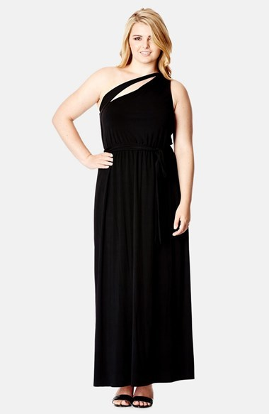 'dream' One Shoulder Maxi Dress (Plus Size) - fit: fitted at waist; pattern: plain; sleeve style: sleeveless; style: maxi dress; neckline: asymmetric; back detail: low cut/open back; predominant colour: black; occasions: evening, occasion; length: floor length; fibres: polyester/polyamide - stretch; sleeve length: sleeveless; pattern type: fabric; texture group: jersey - stretchy/drapey; season: a/w 2014
