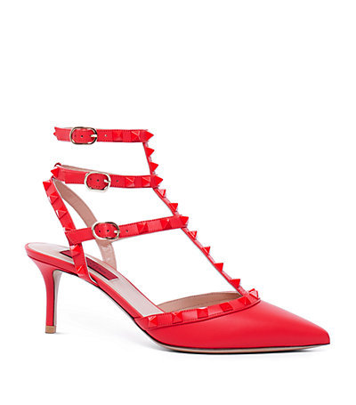 Rockstud 65 1973 Pump - predominant colour: true red; occasions: evening, occasion, creative work; material: leather; heel height: mid; embellishment: studs; ankle detail: ankle strap; heel: stiletto; toe: pointed toe; style: t-bar; finish: plain; pattern: plain; season: a/w 2014; wardrobe: highlight