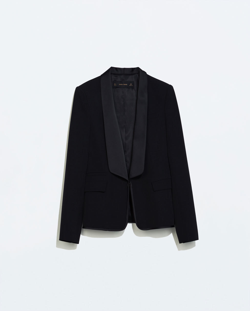 Blazer With Combined Lapel - pattern: plain; style: single breasted blazer; collar: shawl/waterfall; predominant colour: black; occasions: evening, work, occasion; length: standard; fit: tailored/fitted; fibres: polyester/polyamide - 100%; sleeve length: long sleeve; sleeve style: standard; collar break: low/open; pattern type: fabric; texture group: woven light midweight; season: a/w 2014; wardrobe: investment