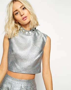Crop Top With Gem Collar Silver Holographic - pattern: plain; sleeve style: sleeveless; neckline: high neck; length: cropped; predominant colour: silver; occasions: evening; style: top; fibres: polyester/polyamide - mix; fit: tailored/fitted; sleeve length: sleeveless; pattern type: fabric; texture group: woven light midweight; embellishment: crystals/glass; season: a/w 2014; wardrobe: event