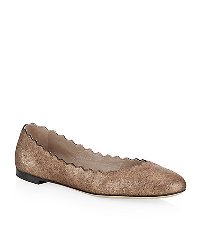 Scallop Leather Flat - predominant colour: bronze; occasions: casual, creative work; material: leather; heel height: flat; toe: round toe; style: ballerinas / pumps; finish: metallic; pattern: plain; season: a/w 2014; wardrobe: basic