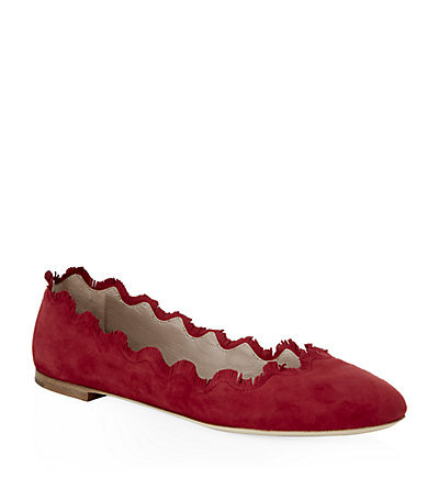 Rose Ballet Flat - predominant colour: true red; occasions: casual, creative work; material: suede; heel height: flat; toe: round toe; style: ballerinas / pumps; finish: plain; pattern: plain; trends: zesty shades; season: a/w 2014; wardrobe: highlight