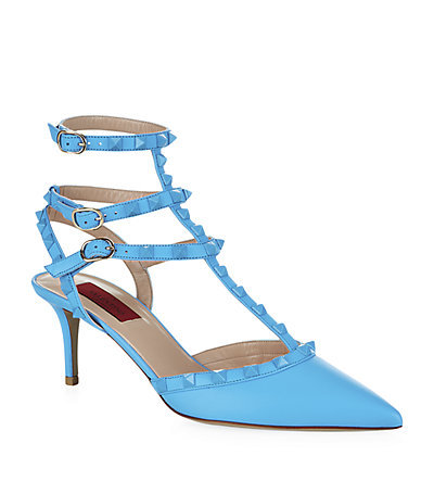 Rockstud 60 1973 Pump - predominant colour: pale blue; occasions: evening, occasion, creative work; material: leather; heel height: mid; embellishment: studs; ankle detail: ankle strap; heel: kitten; toe: pointed toe; style: t-bar; finish: plain; pattern: plain; season: a/w 2014