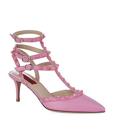 Rockstud 60 1973 Pump - predominant colour: pink; occasions: evening, occasion, creative work; material: leather; heel height: mid; embellishment: studs; ankle detail: ankle strap; heel: kitten; toe: pointed toe; style: t-bar; finish: plain; pattern: plain; season: a/w 2014