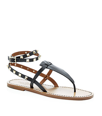 Rockstud Double Leather Sandal - predominant colour: black; occasions: casual, holiday; material: leather; heel height: flat; embellishment: studs; ankle detail: ankle strap; heel: standard; toe: toe thongs; style: strappy; finish: plain; pattern: plain; season: a/w 2014; wardrobe: highlight