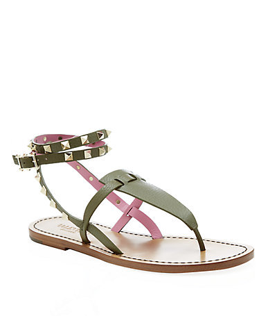 Rockstud Double Leather Sandal - predominant colour: dark green; occasions: casual, holiday; material: leather; heel height: flat; embellishment: studs; ankle detail: ankle strap; heel: standard; toe: toe thongs; style: strappy; finish: plain; pattern: plain; season: a/w 2014; wardrobe: highlight