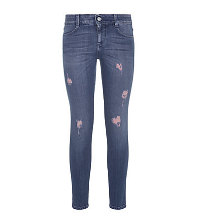 Distressed Skinny Ankle Grazer Jeans - style: skinny leg; length: standard; pattern: plain; pocket detail: traditional 5 pocket; waist: mid/regular rise; predominant colour: royal blue; occasions: casual; fibres: cotton - stretch; jeans detail: whiskering; texture group: denim; pattern type: fabric; season: a/w 2014; wardrobe: basic