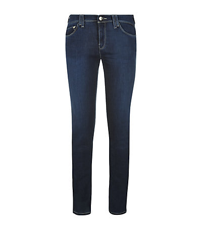 Mid Rise Skinny Jeans - style: skinny leg; length: standard; pattern: plain; pocket detail: traditional 5 pocket; waist: mid/regular rise; predominant colour: navy; occasions: casual; fibres: cotton - stretch; jeans detail: dark wash; texture group: denim; pattern type: fabric; season: a/w 2014; wardrobe: basic