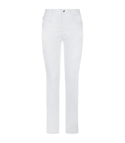 Mid Rise Skinny Legging Jeans - style: skinny leg; length: standard; pattern: plain; waist: high rise; pocket detail: traditional 5 pocket; predominant colour: white; occasions: casual, creative work; fibres: cotton - stretch; texture group: denim; pattern type: fabric; season: a/w 2014; wardrobe: highlight
