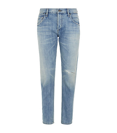 Emerson Boyfriend Jeans - style: boyfriend; length: standard; pattern: plain; waist: high rise; pocket detail: traditional 5 pocket; predominant colour: denim; occasions: casual; fibres: cotton - stretch; jeans detail: whiskering, shading down centre of thigh, washed/faded; texture group: denim; pattern type: fabric; season: a/w 2014; wardrobe: basic