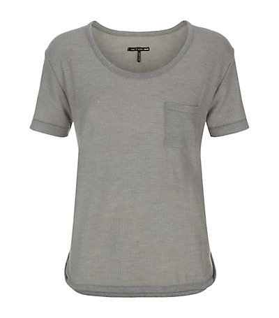 Prema Knit T Shirt - neckline: round neck; pattern: plain; style: t-shirt; bust detail: subtle bust detail; predominant colour: mid grey; occasions: casual; length: standard; fibres: polyester/polyamide - stretch; fit: body skimming; sleeve length: short sleeve; sleeve style: standard; texture group: knits/crochet; pattern type: knitted - fine stitch; season: a/w 2014; wardrobe: basic