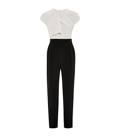 Estro Jumpsuit - length: standard; sleeve style: capped; fit: tailored/fitted; bust detail: subtle bust detail; secondary colour: ivory/cream; predominant colour: black; occasions: evening, occasion; fibres: polyester/polyamide - mix; neckline: crew; sleeve length: short sleeve; texture group: crepes; style: jumpsuit; pattern type: fabric; pattern size: light/subtle; pattern: colourblock; season: a/w 2014; wardrobe: event