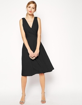 Midi Dress With Twist Wrap Black - style: faux wrap/wrap; length: below the knee; neckline: low v-neck; pattern: plain; sleeve style: sleeveless; predominant colour: black; occasions: evening, occasion; fit: fitted at waist & bust; fibres: polyester/polyamide - 100%; sleeve length: sleeveless; pattern type: fabric; texture group: other - light to midweight; season: a/w 2014; wardrobe: event