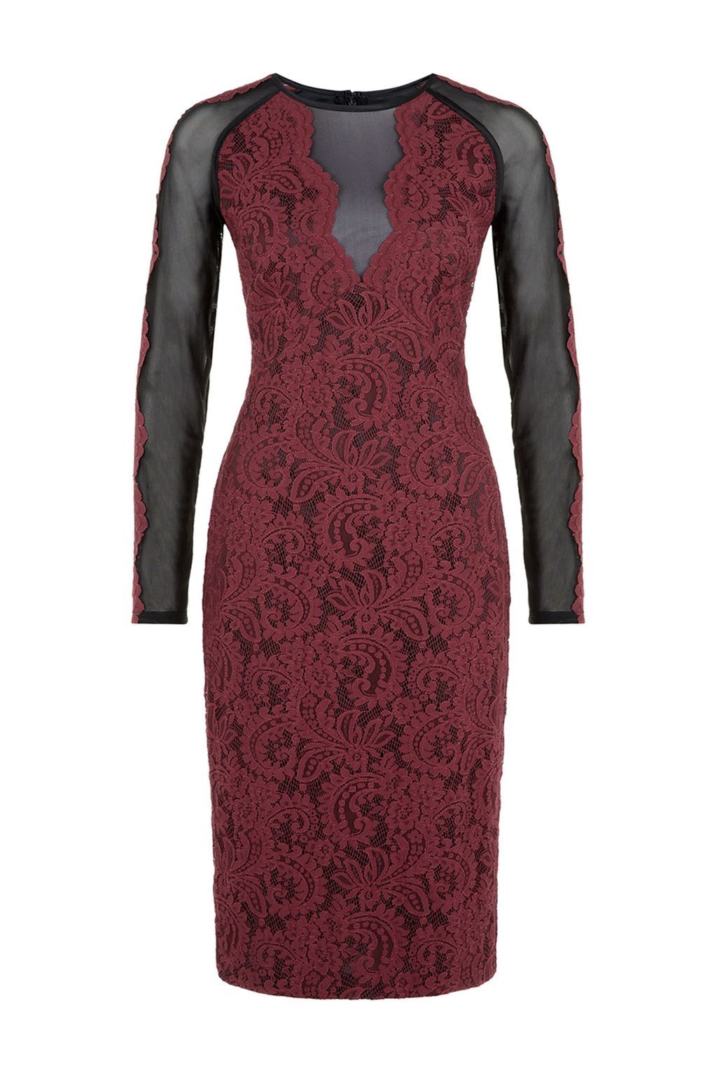 Jodie Dress, Purple - style: shift; neckline: round neck; fit: tight; secondary colour: black; occasions: evening, occasion; length: on the knee; sleeve length: long sleeve; sleeve style: standard; texture group: lace; pattern type: fabric; pattern: colourblock; predominant colour: raspberry; season: a/w 2014; wardrobe: event